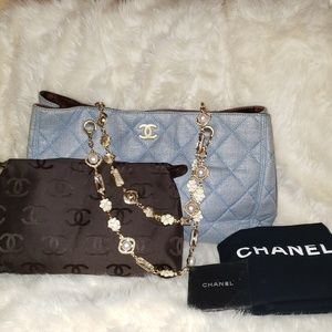 Chanel Denim Blue Canvas Quilted Chain Handle Tote